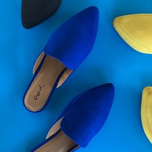 Shoes - 🆕 Cobalt Blue Suede Mule Flats